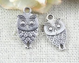 50 pcs of antique silver owl Charm Pendants 18x9mm
