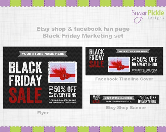 etsy shop banner black friday marketing set by