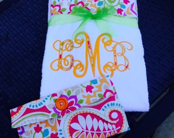 Fun with Florals!!! Bright and Bold Embroidered Beach or Lounge Chair Towel
