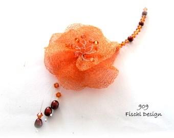 Wedding bridal necklace wirelace filigree blossom orange red copper silver 909