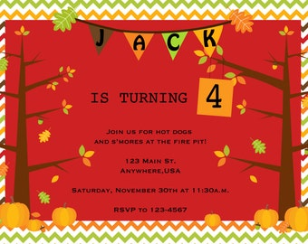 Fall pumpkin and trees birthday invitation