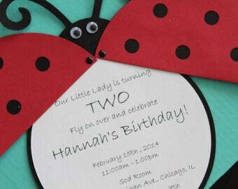 Handmade Ladybug Invitation Card