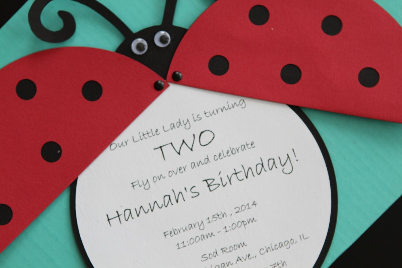 Ladybug Birthday Invitations Handmade