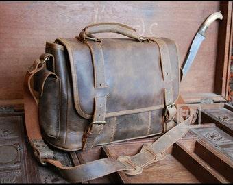 FHT Leather Safari Messenger Bag Briefcase Shoulder Satchel