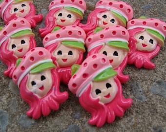 2 Strawberry Girl Resin Strawberry Resin Hair Bow Resins pink Resin