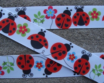 "3 yards Ladybug Printed Ribbon 7/8"" Ribbon  Bug Ribbon Hair bow ribbon"