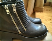 new black double zip chunky ankle boots