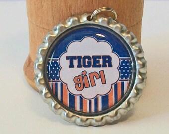 Fun Orange and Blue Stripe Tiger Girl Flattened Bottlecap Pendant Necklace