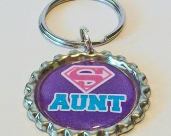 Purple and Pink Super Aunt Metal Flattened Bottlecap Keychain Great Gift