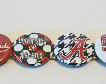 Unique Alabama Inspired Crimson and White and Houndstooth Button Bracelet