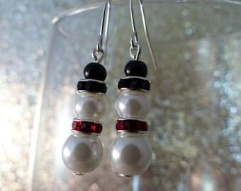 Holiday Snowmen Drop Earrings
