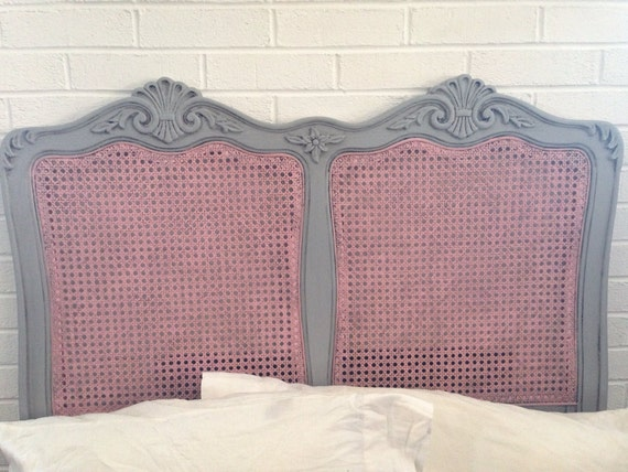 Shabby Chic Pink And Grey Twin Headboard Solid Wood And Wicker