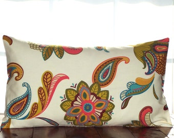 CLEARANCE!  75% OFF!  Paisley Pillow Covers, Covington Savannah Fabric , Floral Pillow Covers, 12 x 20 Pillow Covers