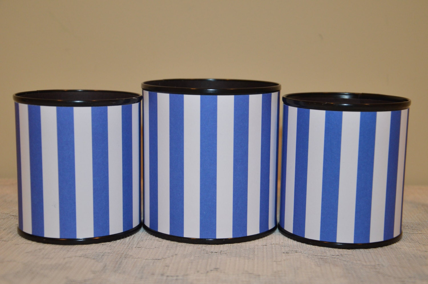 Handmade Pencil Holder SetBlue And White Stripes Gifts For