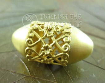 Large Oval Spacer Bead 22K Gold Plated Brass Floral Fretworked Spacer Bead