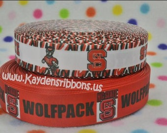 3 yards North Carolina State  - Wolfpack - 1 inch - CHOOSE COLOR - Printed Grosgrain Ribbon