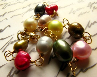Colorful freshwater pearl bracelet gold vermeil wire bracelet with lobster claw clasp