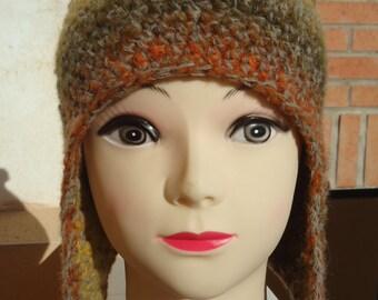 Hand crochet hat with ear flaps / Crochet Beanie / Handmade Hat / Ladies Hat / Warm Hat /  With Pom Pom