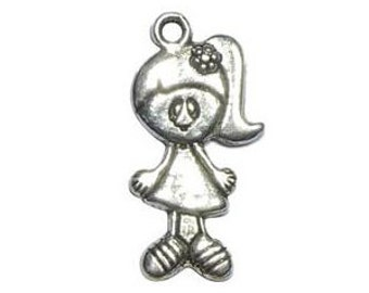 5 Silver Girl Charm Pendant 39x20mm by TIJC SP0412