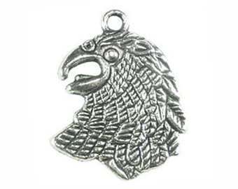 8 pcs - Silver Falcon Charm 25x20mm - Ships from Texas by TIJC - SP0627