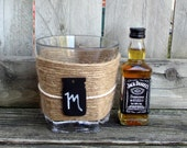 Mens Personalized / Groomsmen Flask / Rustic Wedding Whiskey Glass / Personalized Mens / Boyfriend Gift / Monogram Bourbon Glass / Jute