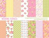 "Digital Paper Pack ""WEDDING FLORALS"" Digital paper for scrapbooking, card, invites. Romantic, summer, bright, florals."