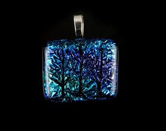 Dichroic Glass Pendant,  Fused Glass Pendant, Tree of Life Pendant, Dichroic Glass Jewelry. Glass Jewelry