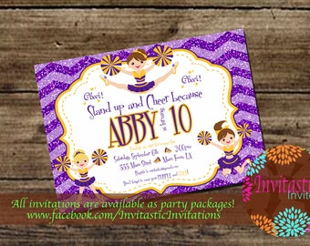 LSU Cheerleader Birthday Invitation - LSU Tigers  Football Girls Birthday Invite also available for New Orleans Saints