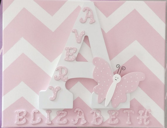 Chevron canvas, hand painted, personalized letter,nursery decor,wall decor,baby shower gift, room decor, playroom decor,