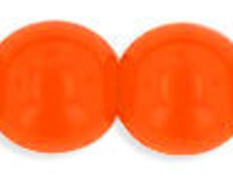 Opaque Orange 6mm Smooth Round Czech Glass Beads 50pc #899