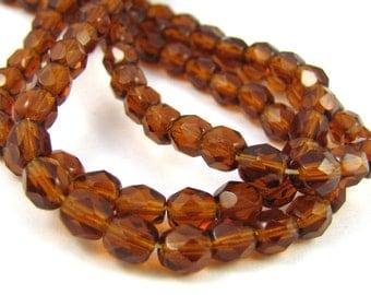 Darker Topaz 5mm Facet Round Czech Glass Fire Polished Beads  #1906