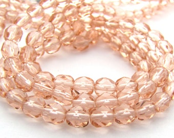 Dark Pink 5mm Facet Round Czech Glass Fire Polished Beads #1890
