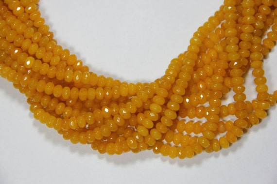 "Yellow Jade 8x5mm faceted roundel beads 16"" length full strand"