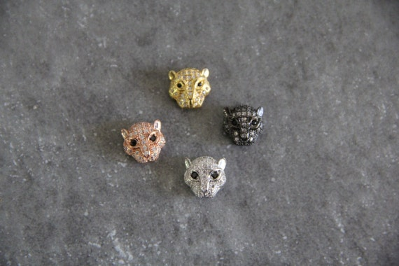 CZ Micro Pave 11mm Panther Head Beads