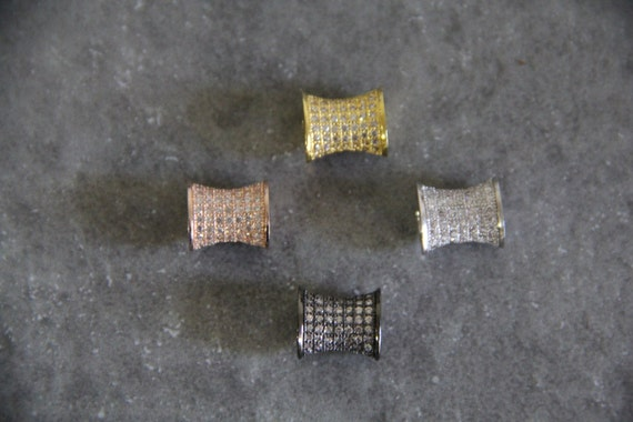 CZ Micro Pave 8x12mm Drum  Beads
