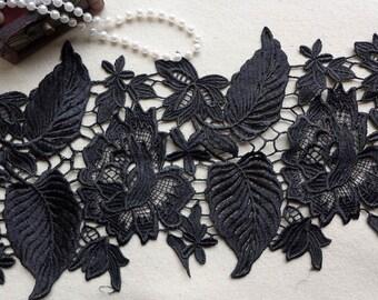 Elegant Black Venise Lace Trim with Rose and Leaf Trim for DIY wedding, Bridal, Costume or Jewelry Design