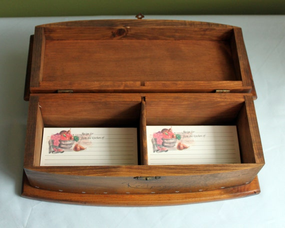 vintage recipe box with lid wooden storage box to keep your. Black Bedroom Furniture Sets. Home Design Ideas
