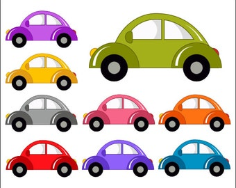 Cute Cars Digital Clip Art, Funny Cars Clipart - Instant Download - YDC094