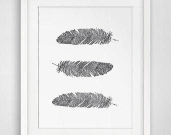Feather Print, Feathers, Boys Nursery, Wall Art for Nursery, Bohemian Wall Art, Feather Art, Printable Nursery, MelindaWood, Melinda Wood