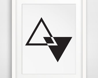 MidCentury Wall Art, Geometric Wall Art, Triangle Art, Black and White Decor, Minimalist Art, Modern Art, Contemporary Decor Printable