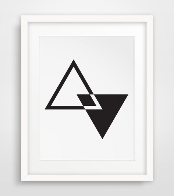 Midcentury wall art geometric wall art triangle art black for Modern minimalist wall art