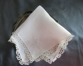 Romantic vintage white lace wedding handkerchief with delicate cut outs with a hint of blue. Unique and memorable bridal wedding gift.