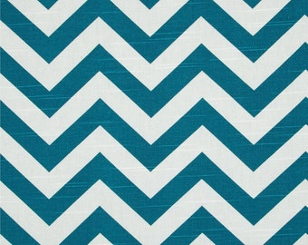 SALE - Premier Prints Zig Zag Aquarius Blue Fabric - Teal Chevron Stripe Fabric by the 1/2 yard