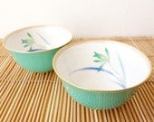 Authentic Japanese tea cups between turquoise and green / by Koransha pottery in Japan / never used vintage - IrodoriLife