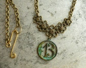 Lucky 13 Moon Necklace Verdigris Favorite Number Thirteen Good Luck Boho Jewelry