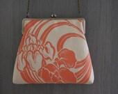 orange-coral color/ flower Day bag/  Metal frame cross body bag//Hand-made/Vintage Kimono obi/ Upcycling