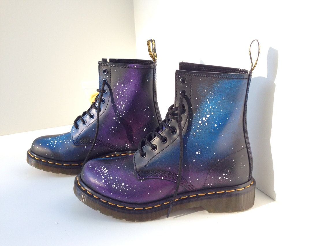 hand painted galaxy doc marten boots. Black Bedroom Furniture Sets. Home Design Ideas