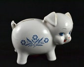 Corningware Cornflower Blue Piggy Bank - Stamped England - Hard to Find