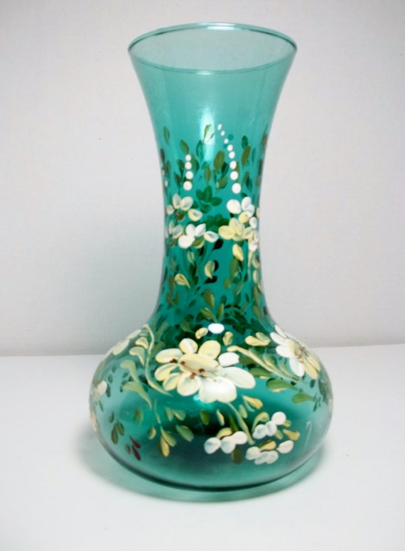 Green Glass Vase Hand Painted Design Folk Art Daisies