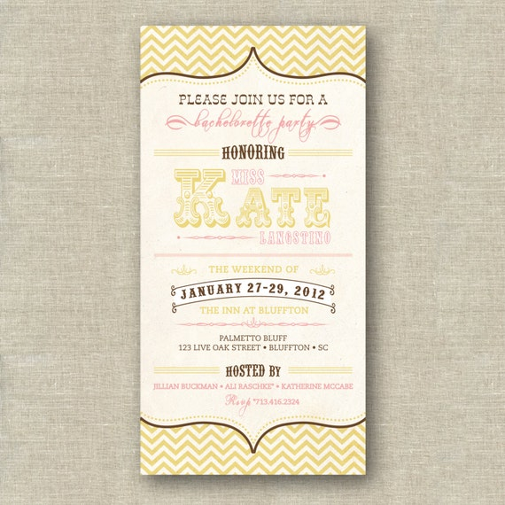 Items similar to pink and gold chevron bridal shower for 4x8 wedding invitations